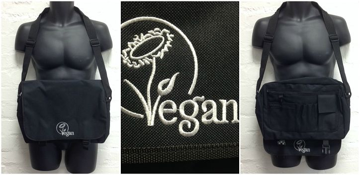 Look stylish with our range of cool messenger bags. Made from 100% polyester and featuring a lengthy adjustable over-the-shoulder strap with padded section, these bags are a great way to carry your small items around and wear the vegan logo with pride.These bags measure 38cm x 30cm x 12cm and are available in a variety of colours.All bags feature our embroidered vegan logo in a contrasting colour, an internal organiser section with zipped pockets and a key hook for storing keys.The capacity…