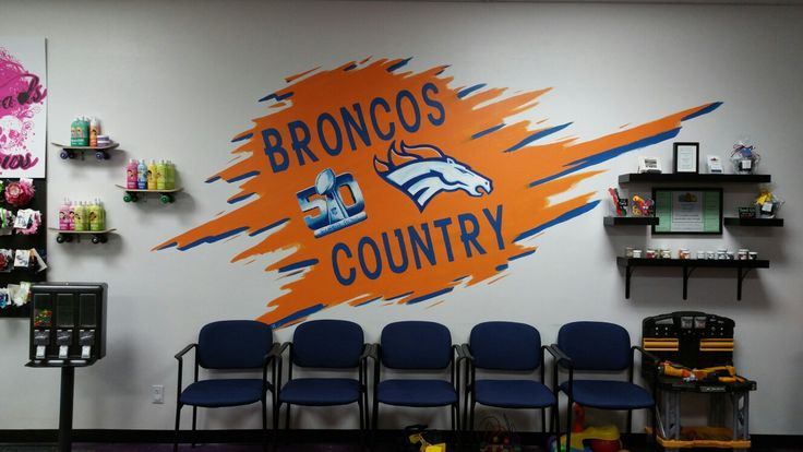 Broncos wall mural by chelsey christy mural denver broncos colorado artist game room