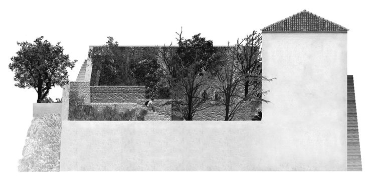 The Amphitheater House by Aristide Antonas, Hydra south-elevation