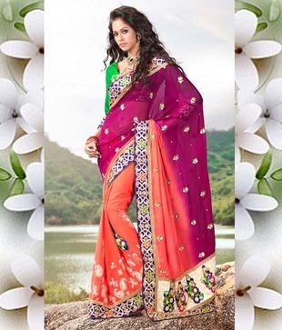 Ishya Pink - Orange Georgette Saree  http://www.snapdeal.com/product/ishya-pink-orange-georgette-saree/258181?utm_source=Fbpost_campaign=Delhi_content=19119_medium=190912_term=Prod