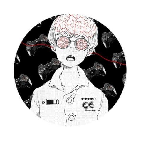 【ろこる】缶バッジ(ゲーム脳/黒赤)