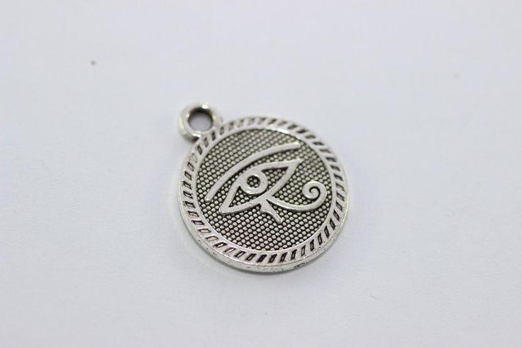 5 pièces antique argent oeil de ra egyptien pendentif 18 mm plaqué argent oeil de charme ra - oeil de pendentifs ra - charme egyptien - Bijoux : Autres breloques par la-mercerie-de-ceylin