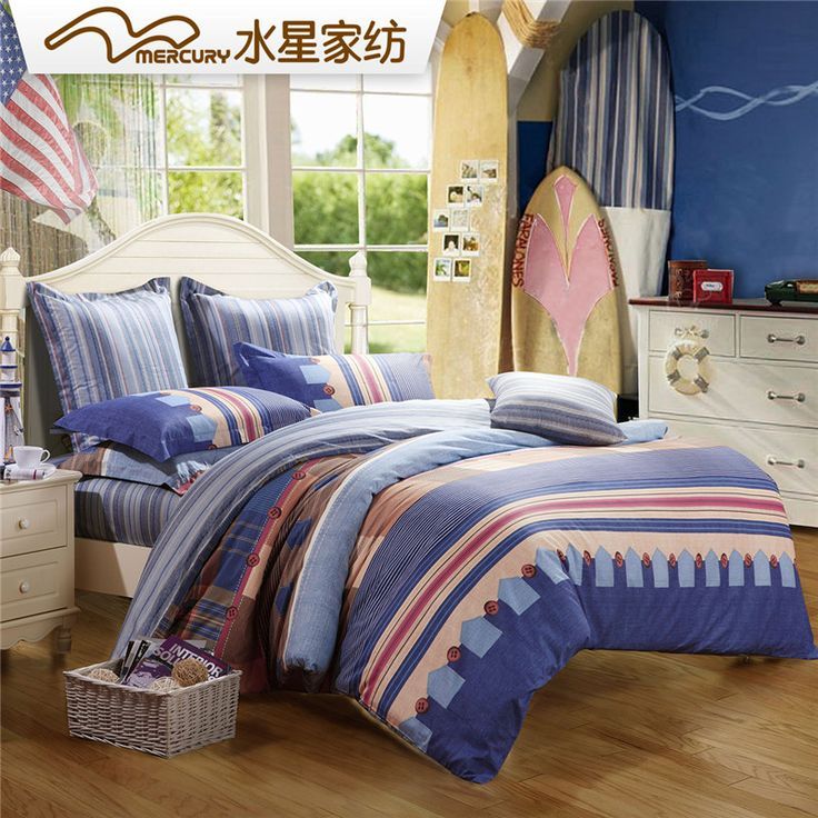 Cheap Bed Linen   Best Mercury Blues And Left Bank 100 Cotton Twill Pigment  Printed Bedding Set Hot Sale Online