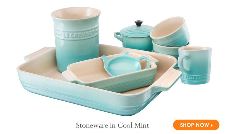 Stoneware in Cool Mint    .    .    . Le Creuset, maker of the worlds most trusted and treasured premium cookware, is proud to announce the launch of its newest color, Cool Mint, available exclusively at Le Creuset Outlet store locations.