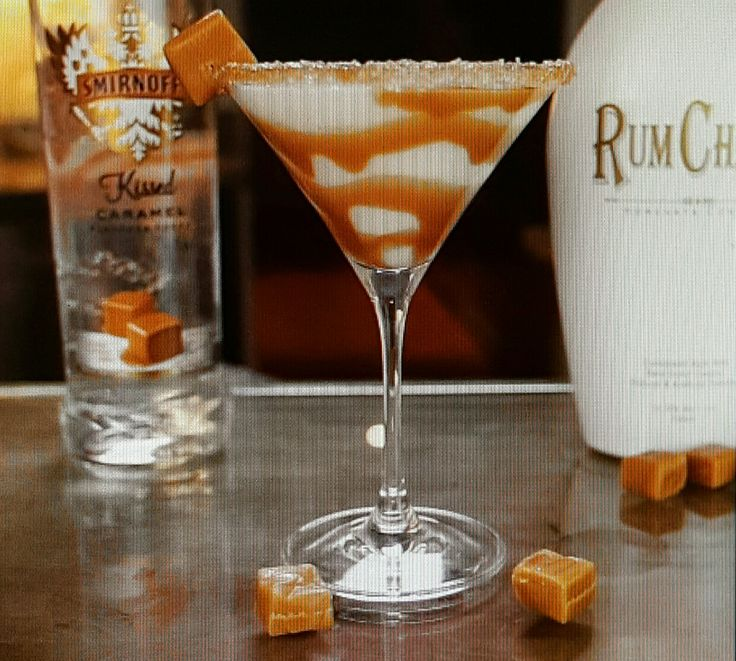 Salted Caramel Martini. 2 parts RumChata liqueur, 1 part Caramel Vodka, and Sea Salt/Table Salt (Do Not Use Margarita Salt).  Rim martini glass with caramel and salt (use water, NOT lime juice). Shake ingredients with ice and strain into salted martini glass. Optional: Drizzle a teaspoon of caramel sauce into bottom of glass.