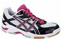 Pantofi alergare sala dama Asics Gel Task alb/roz/negru @ http://incaltaminte.reduceridepret.com