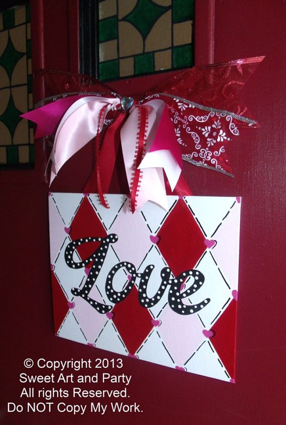 Holiday Valentine Love Canvas red hot pink white black diamond harlequin door sign hand painted painting art decor ornament gift on Etsy, $20.00