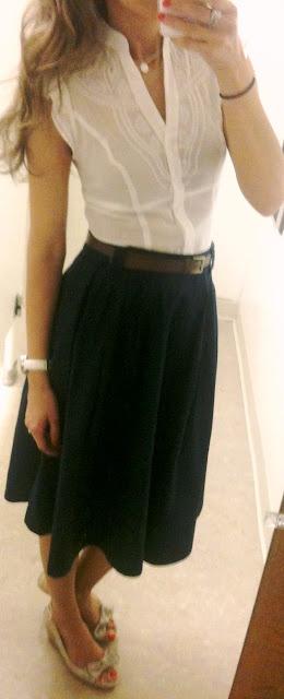 White shirt - navy skirt