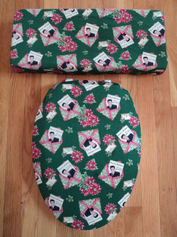 Why do I love this so much? Elvis Christmas Cards Green Toilet Seat Cover Set