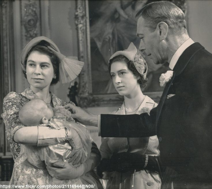 Queen Elizabeth,her sister Princess Margaret and her father King George VI at Princess Anne's Christening.