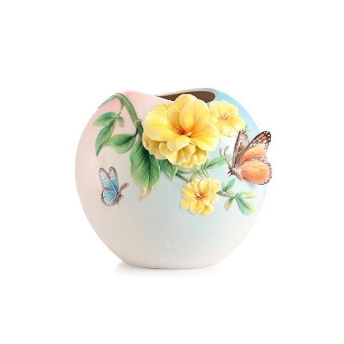 Franz Porcelain Jasmine Butterfly Vase FZ03017