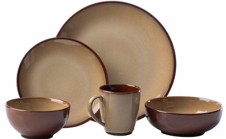 40-piece Round Nova Brown Stoneware Dinnerware Set Banded/Solid Pattern  #Sango #Dinnerware #Set