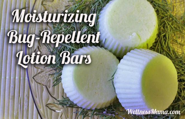 Homemade all natural bug repellent lotion bars - I don't see citronella in the mix, which is good, because I really hate that smell.