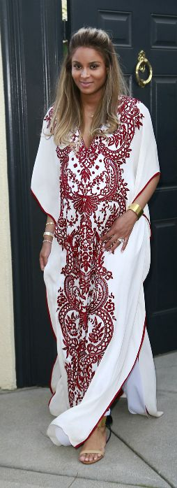 Ciara's Baby Shower Naeem Khan Spring 2014 White And Burgundy Lace Embroidered Kaftan