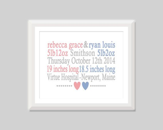 Twin Birth Stats Print Boy Girl Twin Gift by SweetPapelDesigns