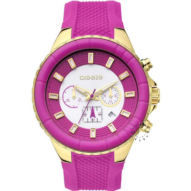 BREEZE Air Hollywood Chrono Fuschia Rubber Strap Μοντέλο: 110091.7 Τιμή: 180€ http://www.oroloi.gr/product_info.php?products_id=30589
