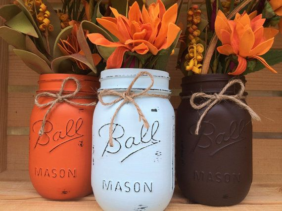 * Please check current Shop Announcement before purchase!! *  Decorative Set of 3 Hand-Painted Ball Mason Jars in our own unique Fall themed