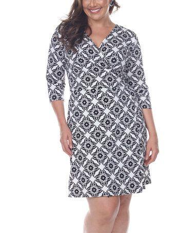 Look at this #zulilyfind! White & Black Batik Surplice Dress - Plus #zulilyfinds