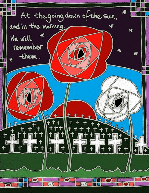 Remembrance Day. Could adapt this to make window displays using coloured cellophane.