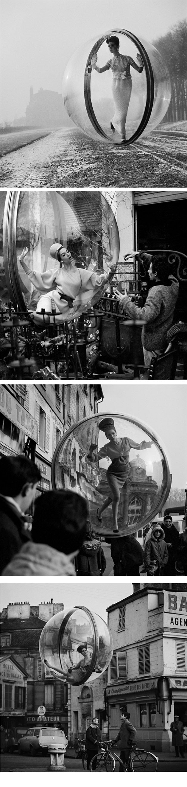"""Famous """"Bubble"""" series for  Harper's Bazaar Spring Collection, Paris, 1963 by Melvin Sokolsky"""