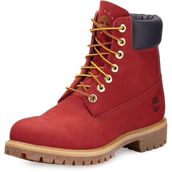 Timberland 6 Premium Waterproof Hiking Boot ($90) ❤ liked on Polyvore featuring men's fashion, men's shoes, men's boots, shoes, boots, men, menswear, red, ruby red and mens round toe cowboy boots