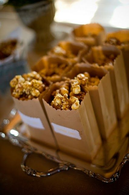 Caramel Corn....Fall party favors. no labels though, use scallop scissors to cut tops of paper bags