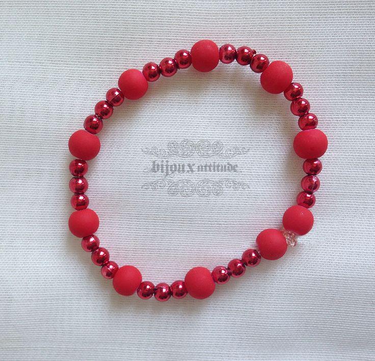 Bracelet élastique pour adolescente - bracelet rouge tout-aller petit poignet by BijouxAttitude on Etsy
