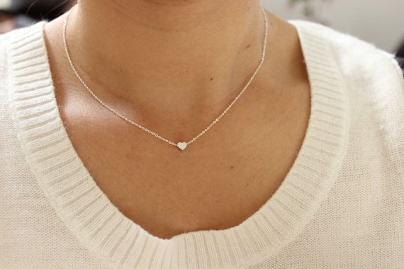 Gold version Available, Tiny heart necklace, dainty heart  necklace, delicate necklace, minimalist jewelry, silver necklace, thin necklace.