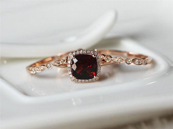 Hey, I found this really awesome Etsy listing at https://www.etsy.com/listing/220191749/3pcs-febuary-birthstone-garnet-ring-set