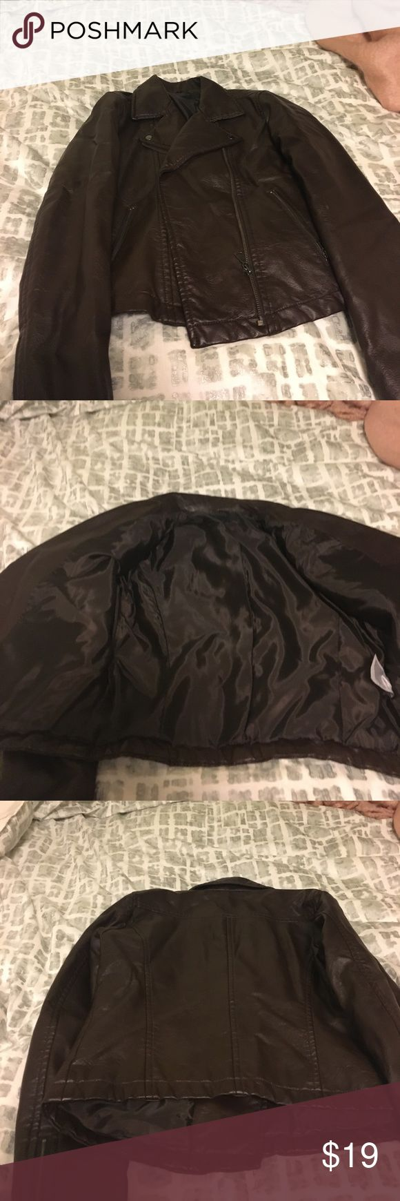 Uniqlo Vegan Leather Jacket Brown vegan leather jacket. Only worn a couple times. Uniqlo Jackets & Coats