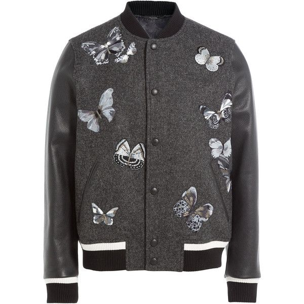 Valentino Wool Bomber Jacket ($2,940) ❤ liked on Polyvore featuring men's fashion, men's clothing, men's outerwear, men's jackets, black, mens bomber jacket, mens slim fit bomber jacket, mens wool outerwear, men's wool bomber jacket and mens wool jacket