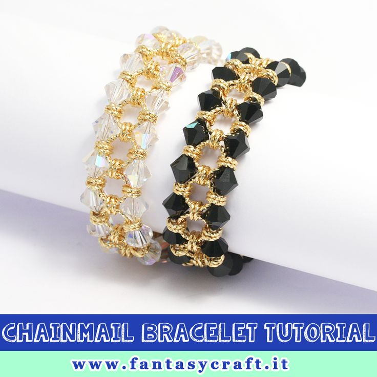 chainmail bracelet with crystal bicones, step by step picture and beading instruction - Foto e testi passo passo per un bracciale con tecnica chainmail e biconi #fantasycraft