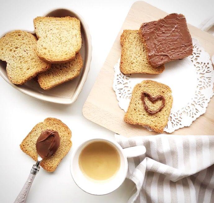 fette biscottate con cuori di nutella