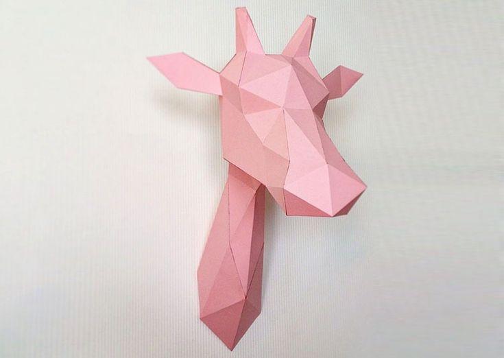 17 meilleures id es propos de tete de cerf origami sur pinterest illustra - Trophee animaux design ...