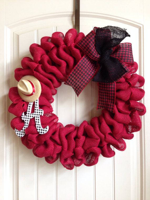 """University of Alabama Dark Red Burlap Wreath with houndstooth """"A"""" and Bear Bryant Hat on Etsy, $65.00"""