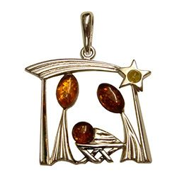 Amber nativity pendant