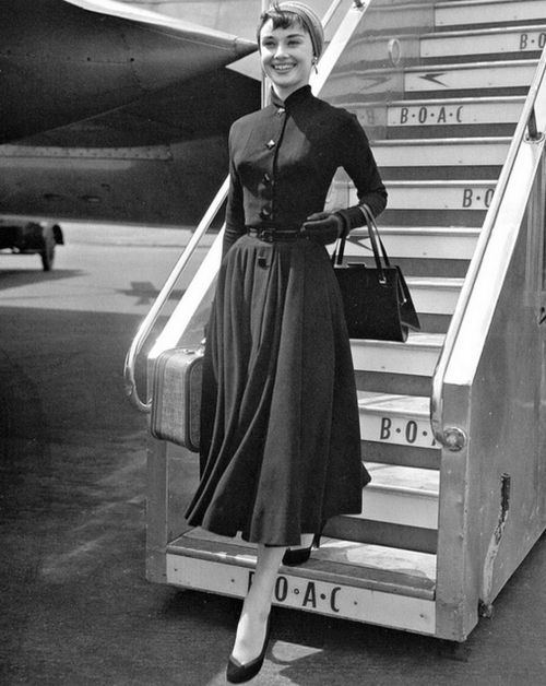 Audrey Hepburn arriving at Heathrow Airport in London, May 21 1953.