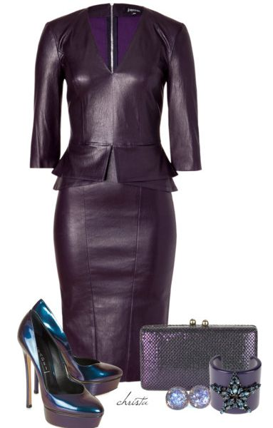 Cut a striking silhouette in this super sultry leather pencil dress from Jitrois. V-neck, 3/4 sleeves, fitted bodice with peplum detail at waist, pencil skirt, exposed back zip closure. Get this at stylebop.com. These Casadei metallic leather pumps with almond toe is available at harveynichols.com. Iridescent purple chainmail box clutch. Halston Heritage clutch has two …