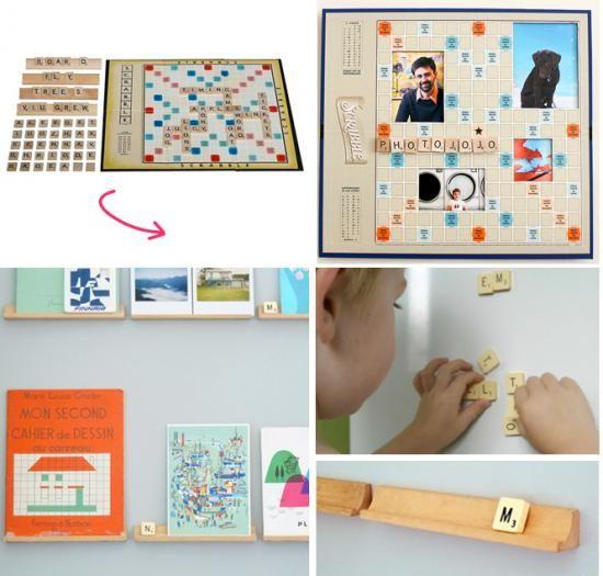Recycler son vieux Scrabble ! Vous avez une vieille boîte de Srcabble incomplète ? Alors vous êtes de petits chanceux ! Transformez les lettre en magnets, les pupitres en mini-étagères et le plateau en cadre photo rigolo !