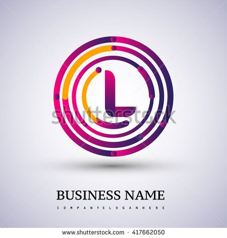 Letter L vector logo symbol in the colorful circle thin line. Vector design template elements for your application or company identity. - stock vector