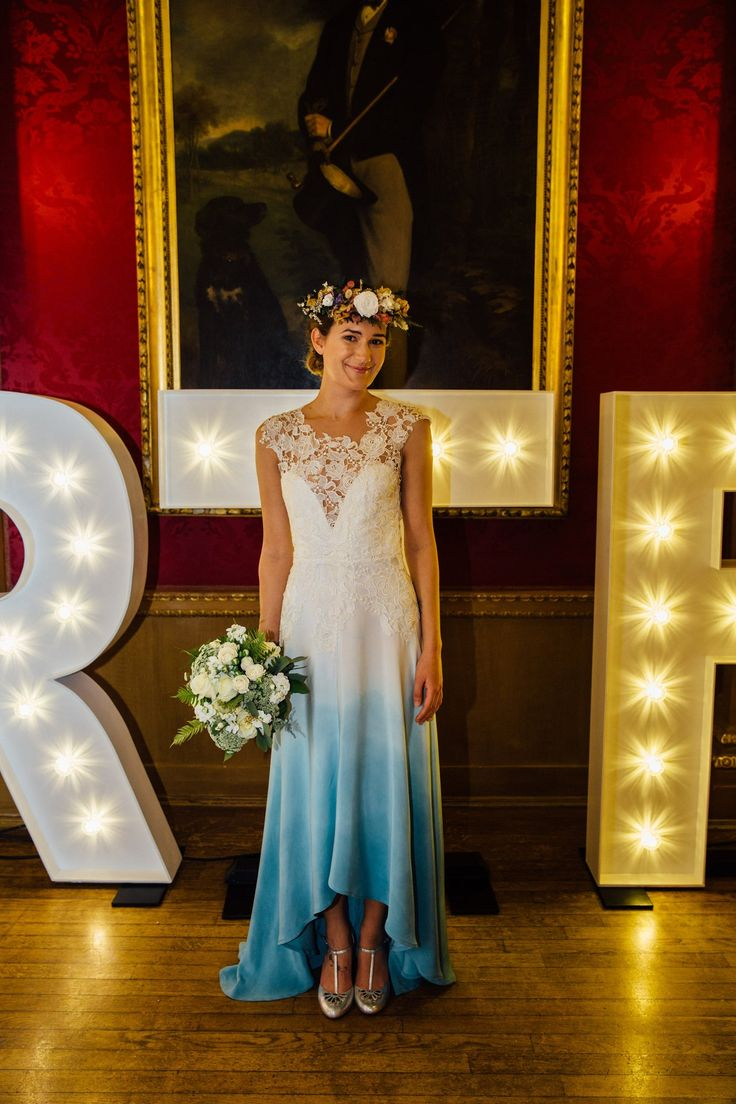 Blue Dip Dye Boho Style Wedding Dress Lola By Lucy Cant Dance Ombre Effect Ivory Wedding