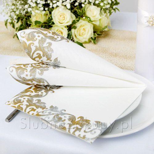 SERWETKI flizelinowe Złota Elegancja 40x40cm 50szt #slub #wesele #sklepslubny #slubnezakupy #serwetki