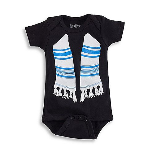 This adorable, black bodysuit features a lovely blue and white Tallis, and is a darling outfit for any proud baby during Jewish holidays or other special occasions. Also features short sleeves, lap shoulders and a snapped bottom for easy changes.