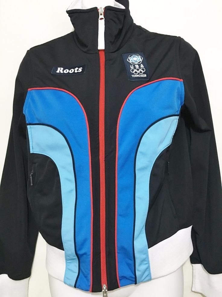 Roots USA Womens M Torino Italy 2006 Olympics Black Blue Red Warm-Up Jacket #Roots #USA