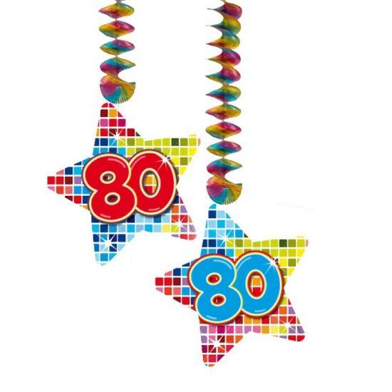 Hangdecoratie sterren 80 jaar. Hangdecoratie in de vorm van sterretjes met het getal 80. De decoratie is verpakt per 2 stuks en is ongeveer 13,3 x 16,5 cm groot.