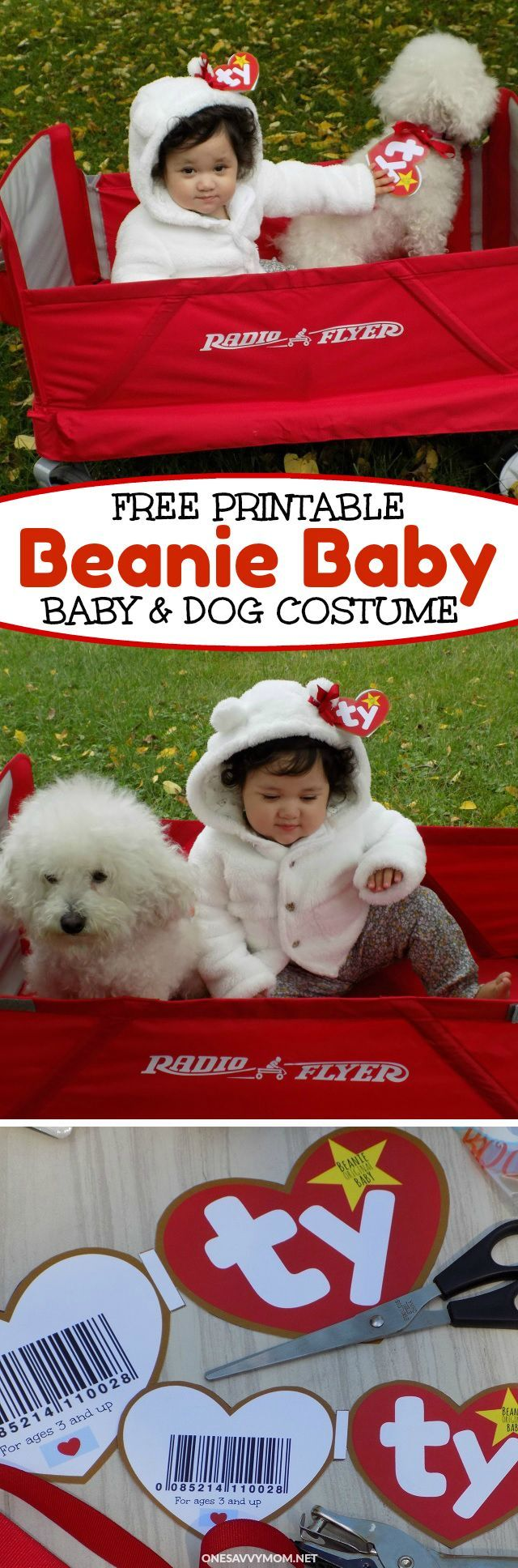 DIY Beanie Baby Halloween Costume For Babies & Dogs - Grab My Super Cute Free Printable! #GigglesandWiggles #ad