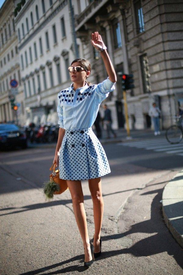 Giovanna Battaglia, 13 street style photos from Milan Fashion Week #MFW #polkadot #print