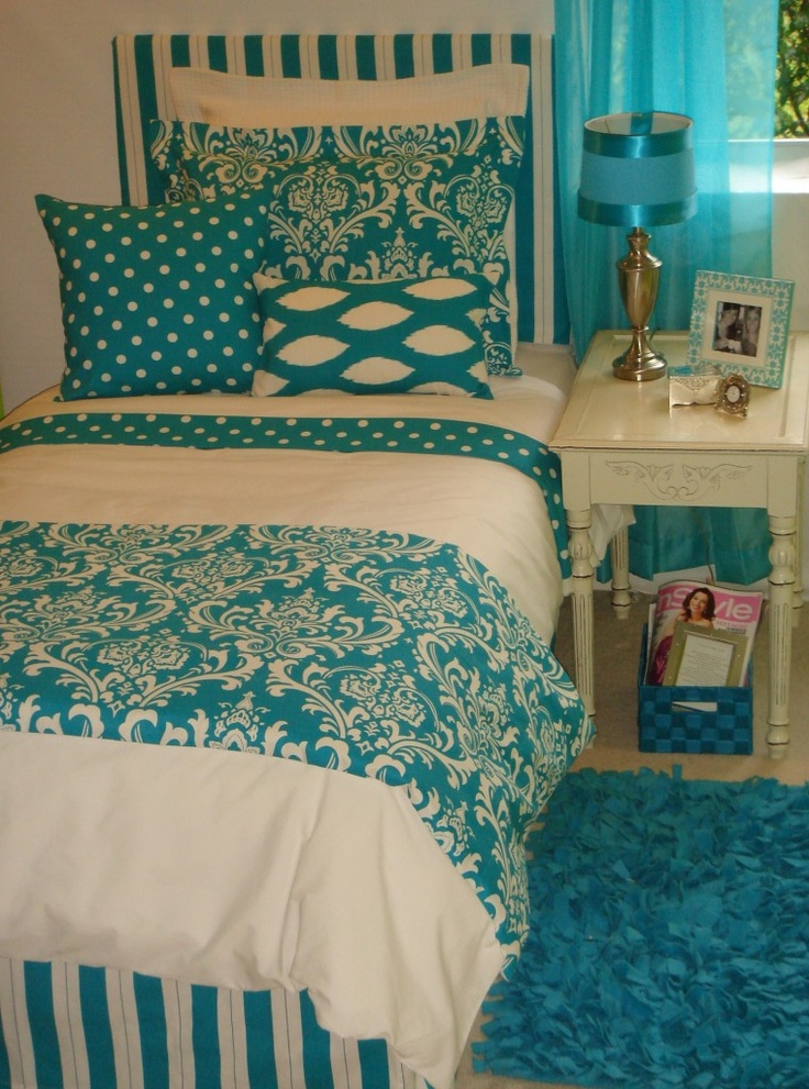 Trendy turquoise damask custom dorm bedding set guest for Black white turquoise bedroom ideas