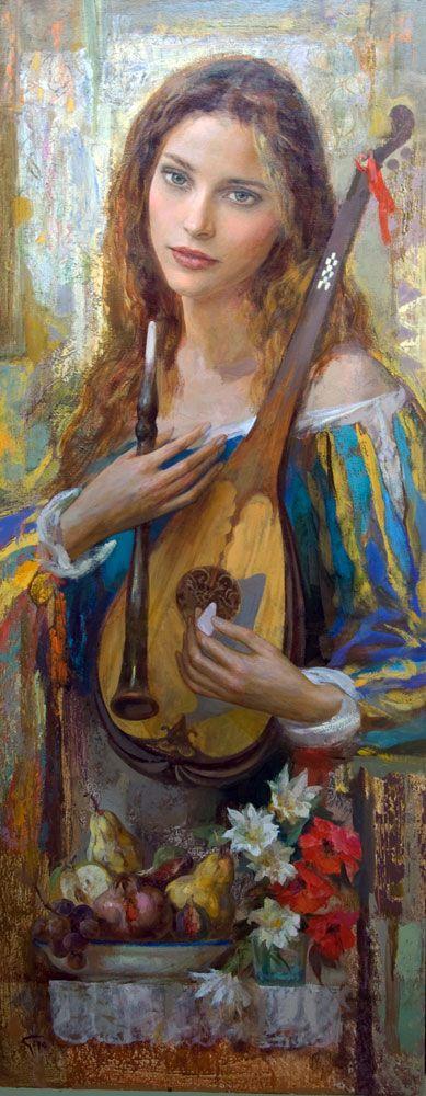 Gypsy:  #Bohemian woman, Goyo Dominguez, Spanish-born British Romantic Realist painter, 1960.