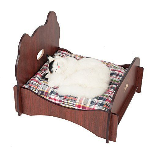 Wooden Pet Cat Dog Bed Modern Furniture Luxury Indoor Sleeper Brown Brand NEW  #Favorite